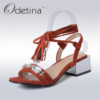 Odetina 2017 Rhinestone Chunky Heel Sandals Crystal Womens Block Heel Ankle Strap Sandals Ladies Summer Shoes