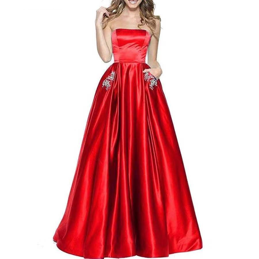 Cinderella Strapless Sleeveless A-Line Floor Length Crystal Beaded Satin Pleated   Bridesmaid     Dresses   Sexy Wedding Party Gown