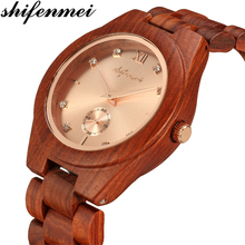 купить Shifenmei Full Bamboo Watch Women Luxury Brand 2019 Fashion Casual Quartz Wooden Watch Bamboo Wood Clock Watch zegarek damski дешево