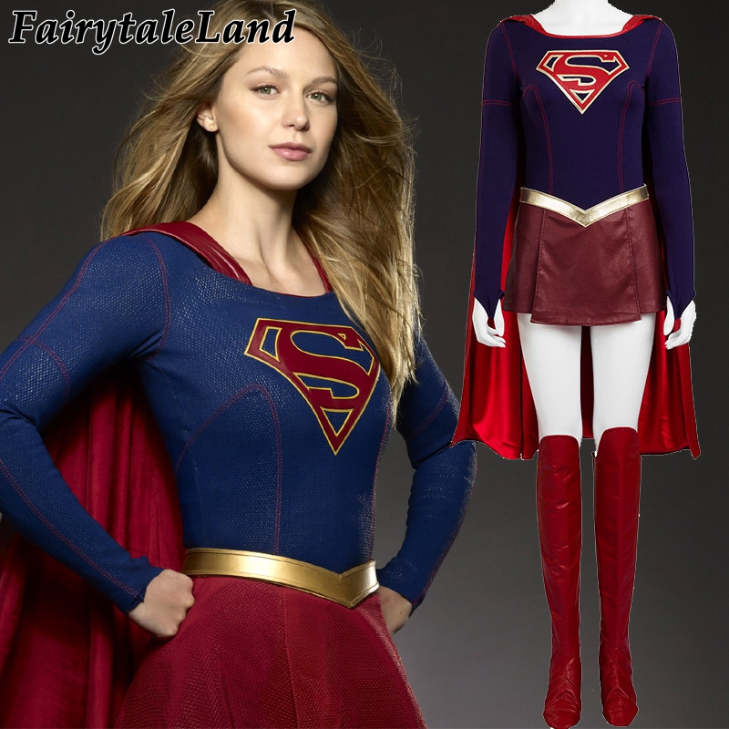 Supergirl Halloween costumes for adult women Kara Danvers Supergirl cosplay costume leather suit Supergirl sexy jumpsuit