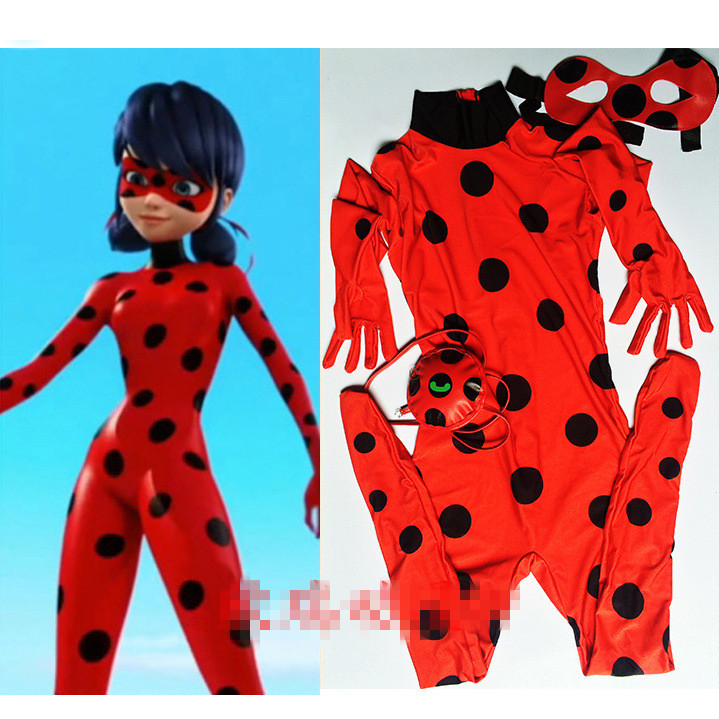 Dame Bug Kostüme Kinder Mädchen Kinder Spandex Miraculous Marienkäfer Katze Noir Erwachsene Strampler Halloween Phantasie Perücke Kleid