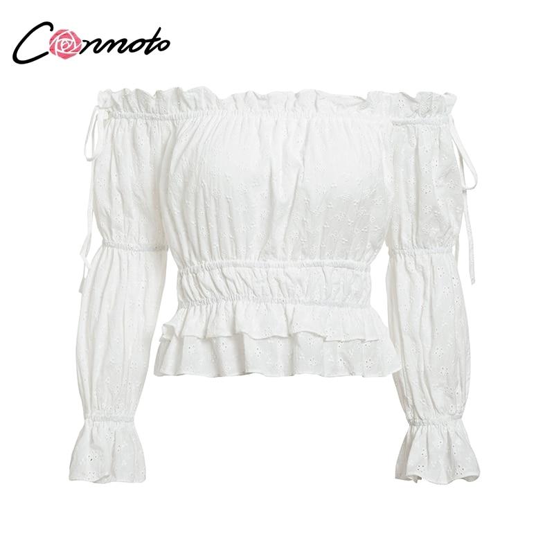 Image 5 - Conmoto Vintage White Embroidery Women Crop Tops and Blouse 2019 NEW Off Shoulder Slash Neck Blouse Girl Lantern Sleeve ShirtBlouses & Shirts   -