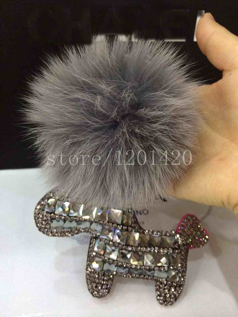 24de04c601a5 bling Horse keychain Crystal Horse Doll Pom Pom gray Fur Ball Key chains  Furry Bag charms
