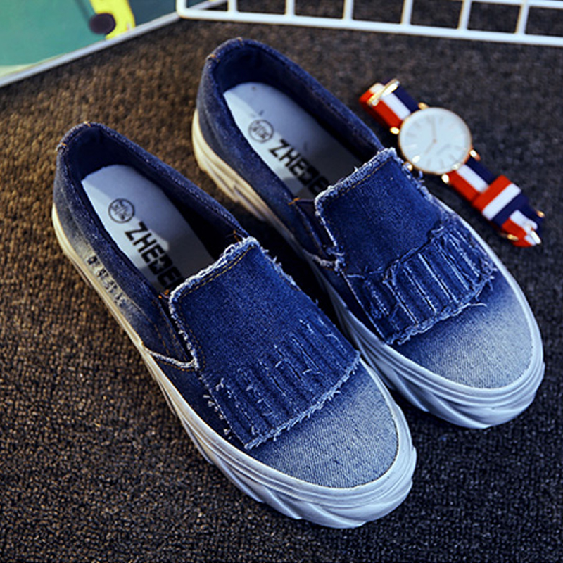 2016 New Tassel Style Denim Canvas Flat font b Women b font Loafers Shoes Platform A