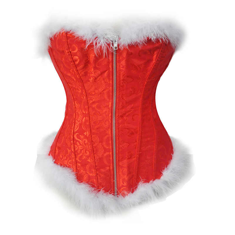 bd80cc90f84 christmas flannel sexy fur overbust red leather corset vintage steel boned  zipper waist corsets bustier gotico women