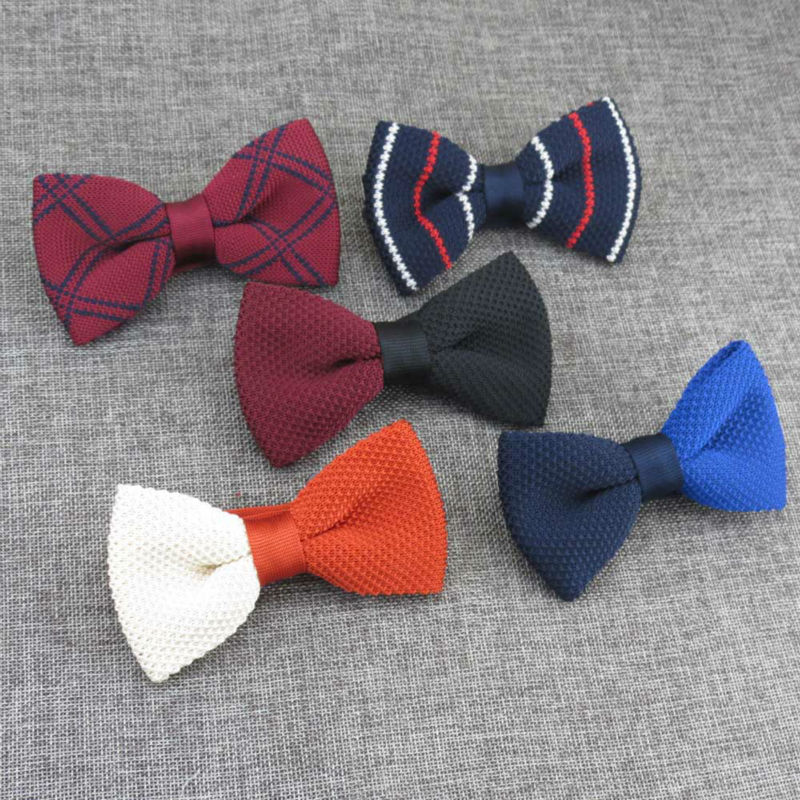 Strange bowtie double color stitching single bow ties/Monochrome symmetrical design/New mens knitted bowtie