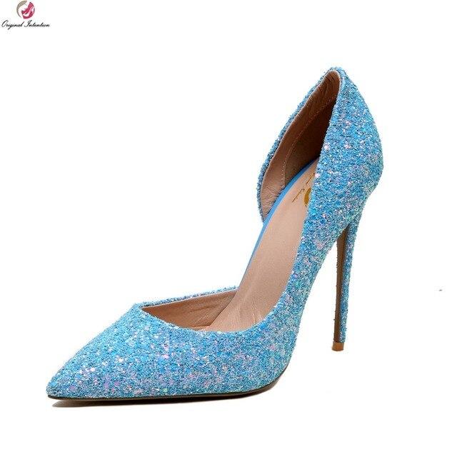 216e96a16aa2 Ursprüngliche Absicht Frauen Pumpt Elegante Spitz Dünne Fersen Hochzeit  Pumps Beige Weiß Blau Schuhe Frau Plus