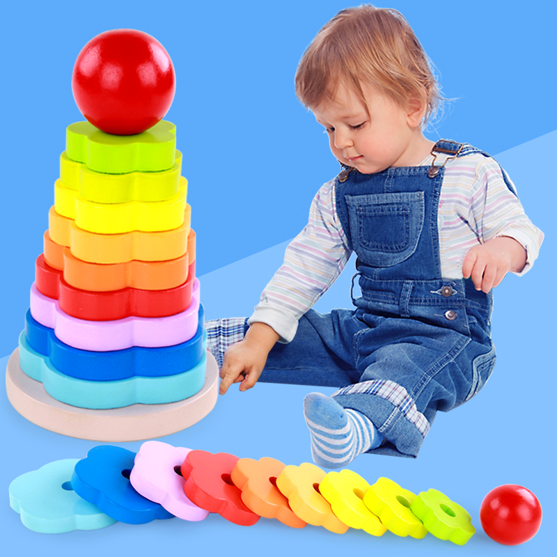 MamimamiHome Baby Toys Flowers Wooden Rainbow Tower Stacking Tower Intellectual Game Montessori Toys Building Blocks стоимость