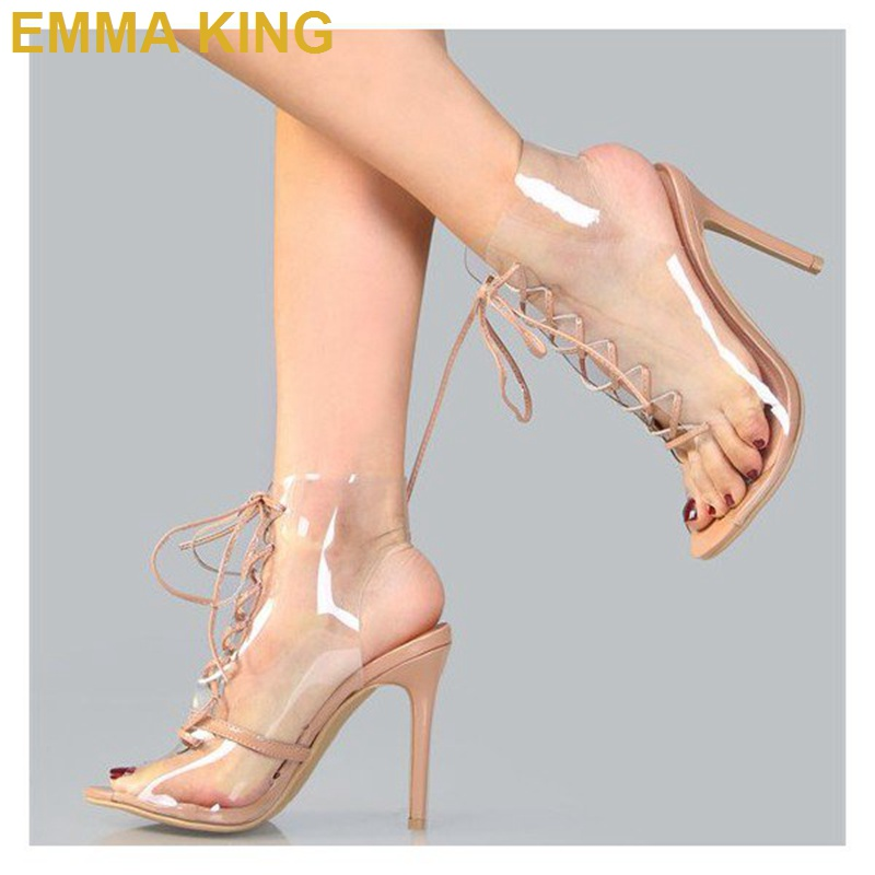 Trendy PVC Lace up Sandals Boots Peep Toe Stiletto Heels Women Sandals Thin High Heeled Sexy Pumps Short Summer Booties Shoes