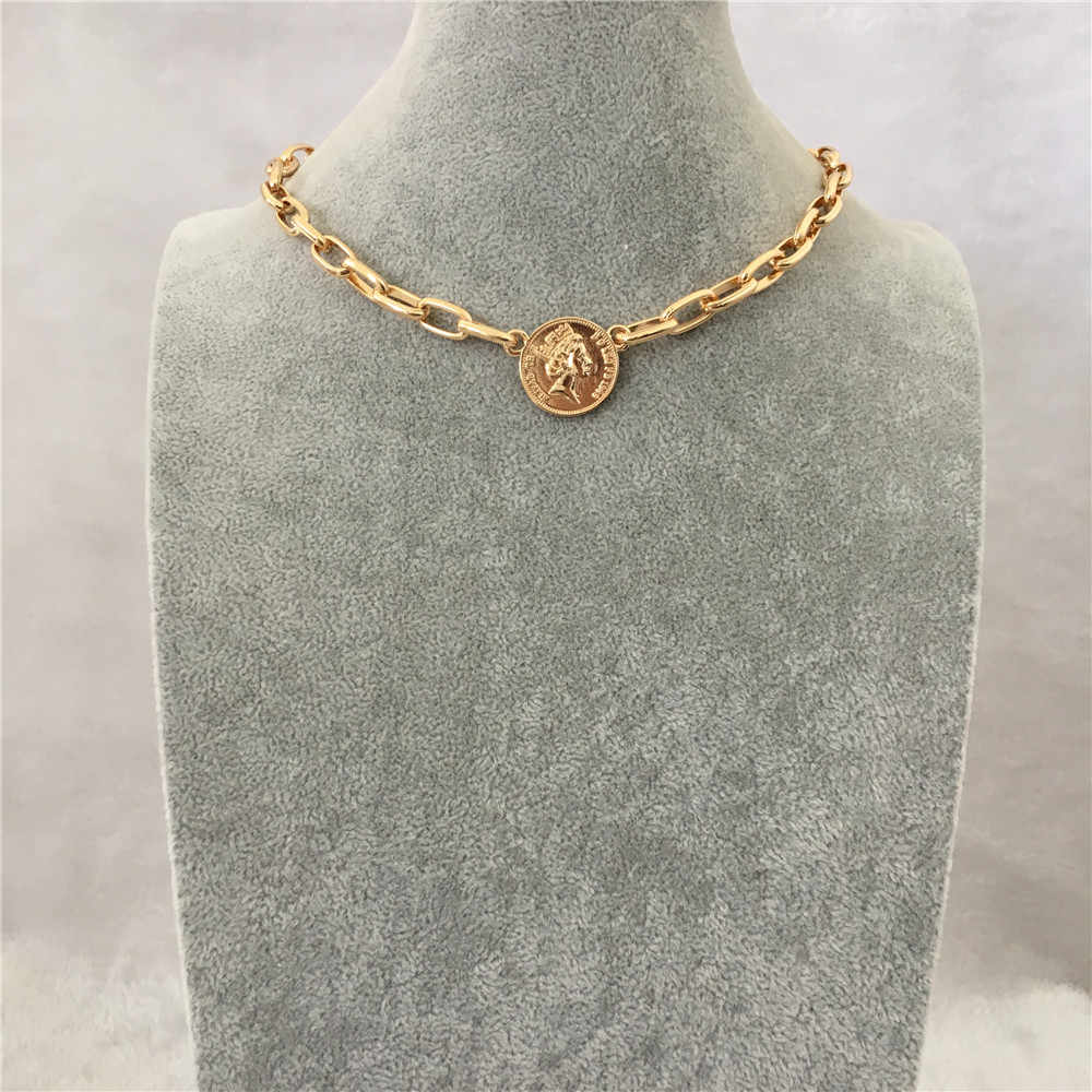 FASHION JEWELRY NECKLACE GOLD COLOR COIN PENDANT SHORT FOR WOMEN GIRL