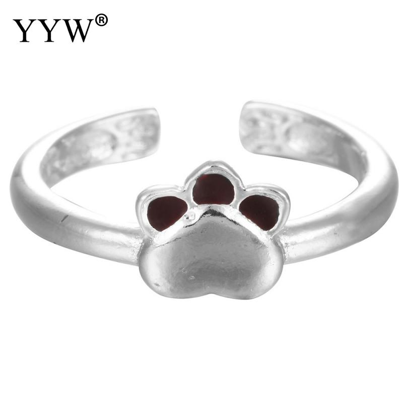 Lovely Claws Tag Brass Cuff Adjustable Silver Plated Finger Rings for Women Female Jewelry Ladies Open Rings Finger Girls Gifts