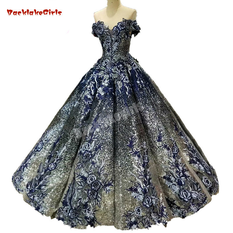 2018 Ball Gown Elegant Prom Dresses Long With Beaded Sweetheart Tulle Navy Blue Dress For Graduation Formal Evening Prom Dresses