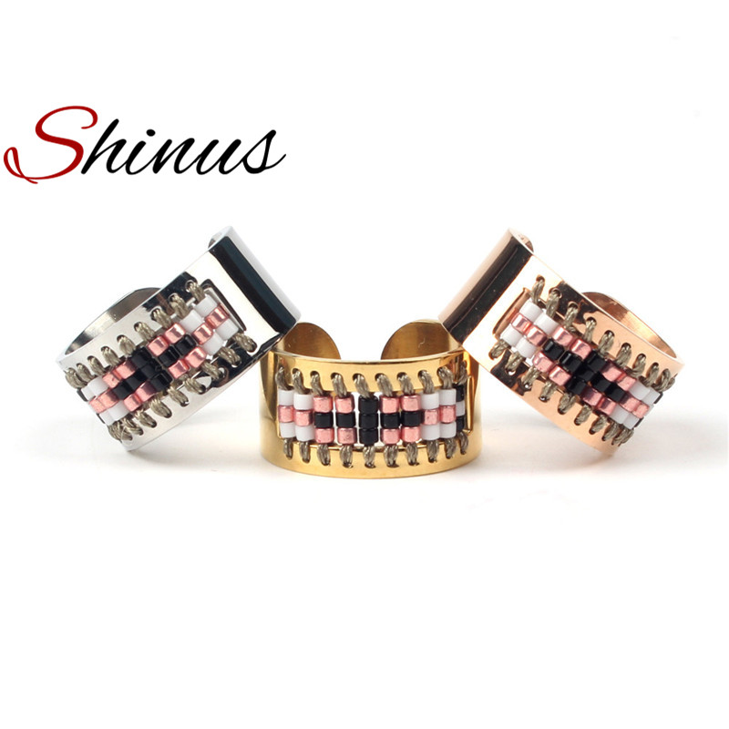 Shinus Fashion Ring Men Rings Women Love Unisex Jewelry Handmade Pattern Stainless Steel Anillos Seed Beads 2018 Dropshipping