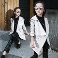 Детская Одежда Корейские Девушки Осень Лацканы Длинный Моды Пальто Детская Одежда Белый