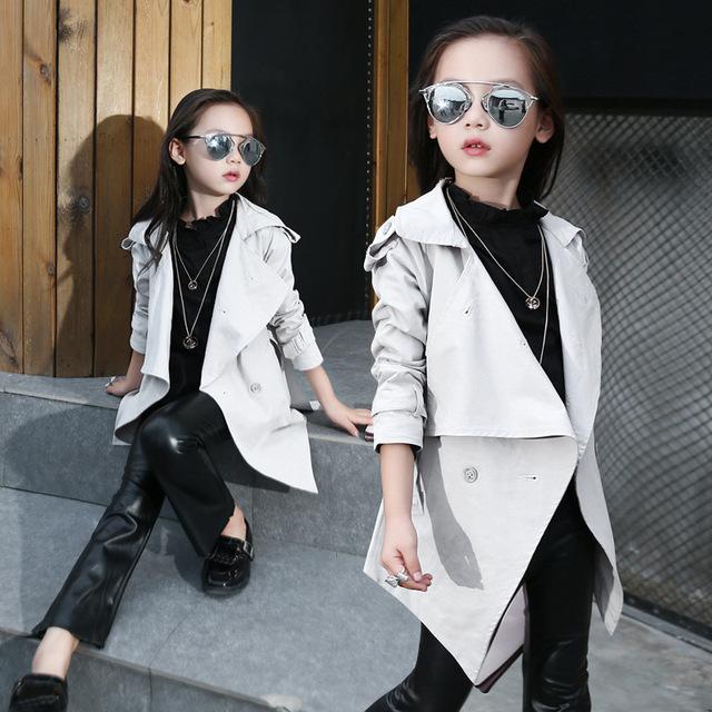 Ropa para niños Chicas Coreanas Otoño Solapas Abrigo Largo Foso de La Manera Ropa Para Niños Blanco
