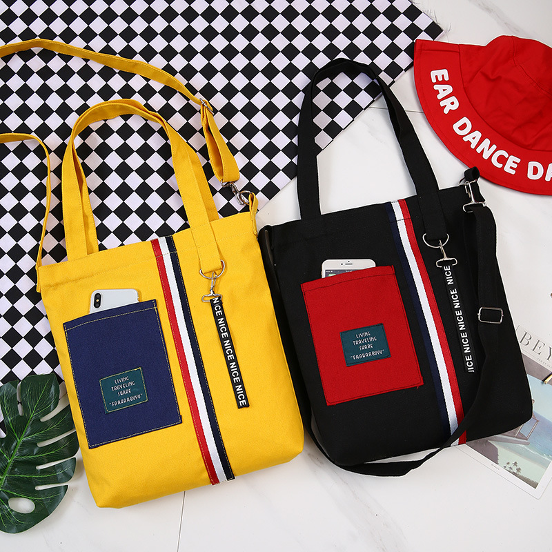 Patchwork Shopping Bag For Girls Single Shoulder Black Yellow Canvas Cloth Bag Zipper Reusable Eco Shopping Bag Bolsas De Tela