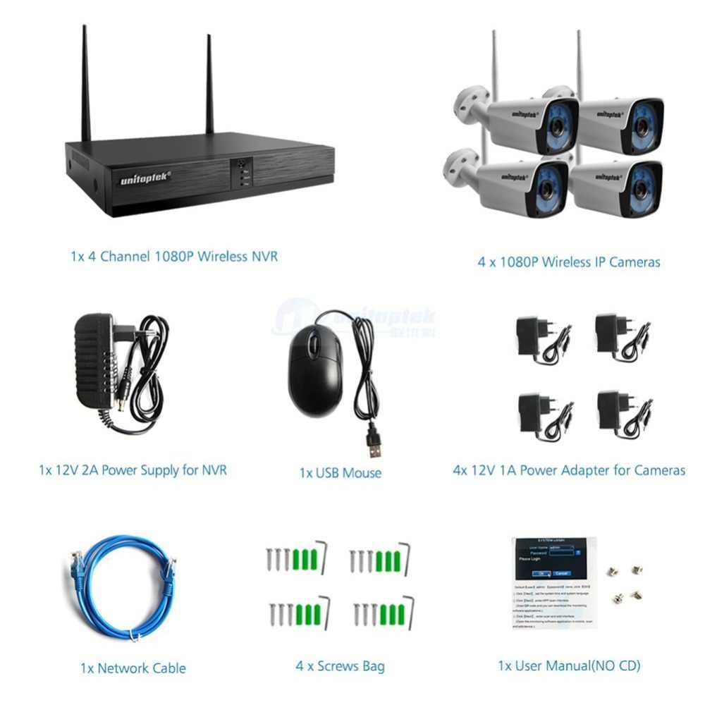 4CH H.265 ไร้สาย NVR ระบบกล้องวงจรปิด 1080P IP กล้อง WIFI Outdoor Bullet IR Night Vision กล้องวงจรปิด 4 ช่องสัญญาณบ้านชุดกล้องรักษาความปลอดภัย