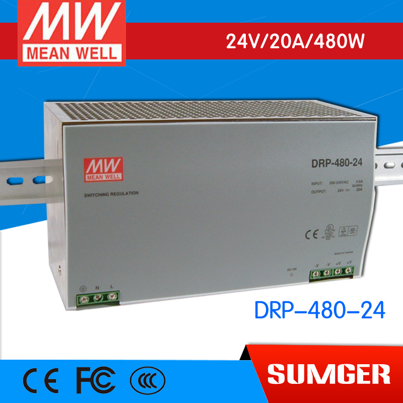 [Sumger2] MEAN WELL original DRP-480-24 24V 20A meanwell DRP-480 24V 480W Single Output Industrial DIN Rail Power Supply original mean well drt 960 24 960w 40a 24v three phase industrial din rail meanwell power supply drt 960