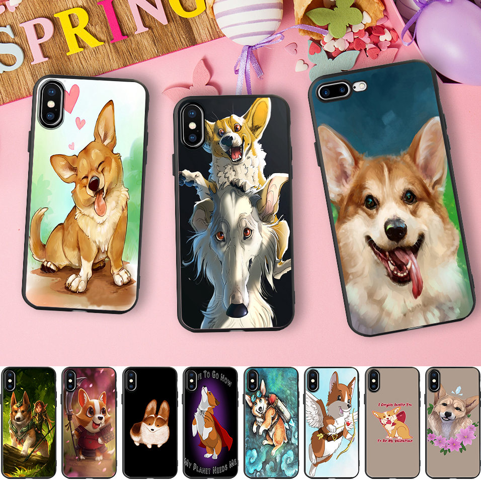 brand new 17866 d67cd US $2.79 30% OFF|Minason Little Pet Cute Dog Corgi Black Wrapped Border  Soft Silicone Cell Phone Case for iPhone X 5 S 5S 6 6S 7 8 Plus Cover-in ...