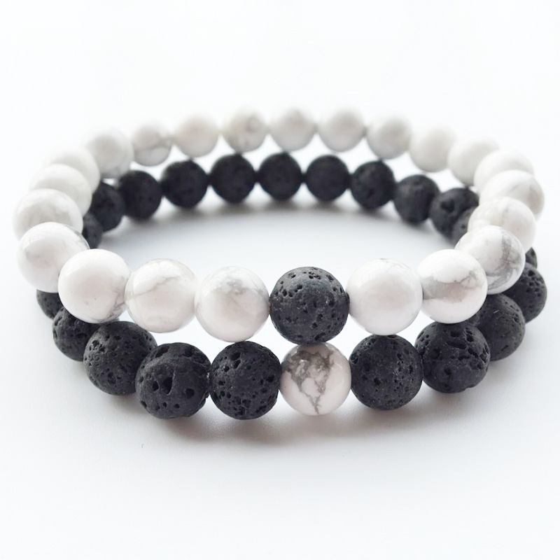 2pcs Couples Balance Jewelry Classic Black & White 8MM Natural Stone Beads Strand Distance Bracelets Lava Man Woman Gift