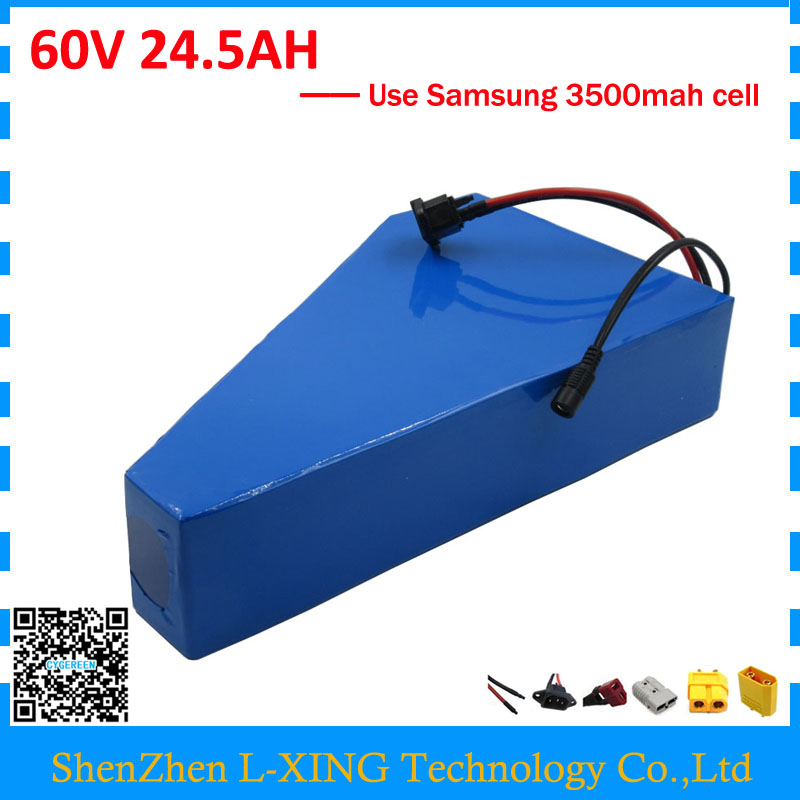Free customs duty 3000W 60V 24.5AH ebike battery 60V 25AH triangle battery 60 V AKKU use samsung 3500mah cell 50A BMS free customs taxe electric bike 60v 3000w battery pack with charger and bms for 60v 25ah lithium battery pack for samsung cell