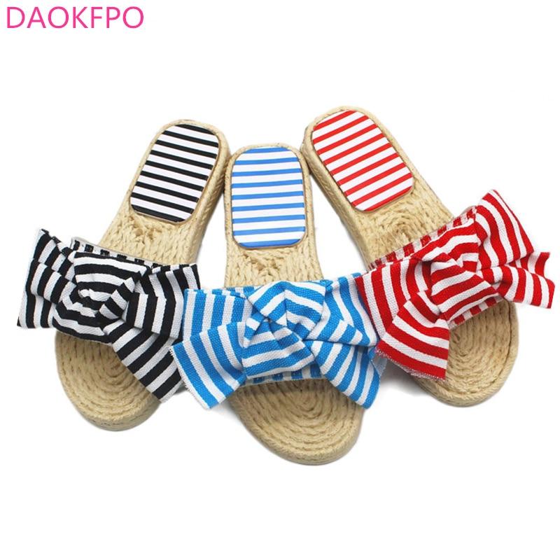 2018 신 여름 여자 활 슬리퍼 초가집 줄무늬 샌들 - 여성 신발