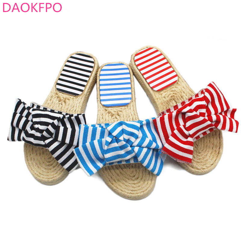 2018 New Summer Women Bow Slippers Bowknot Stripe Sandals Flat Non Slip Bathroom Slides Indoor Flip Flop Casual Beach Slippers