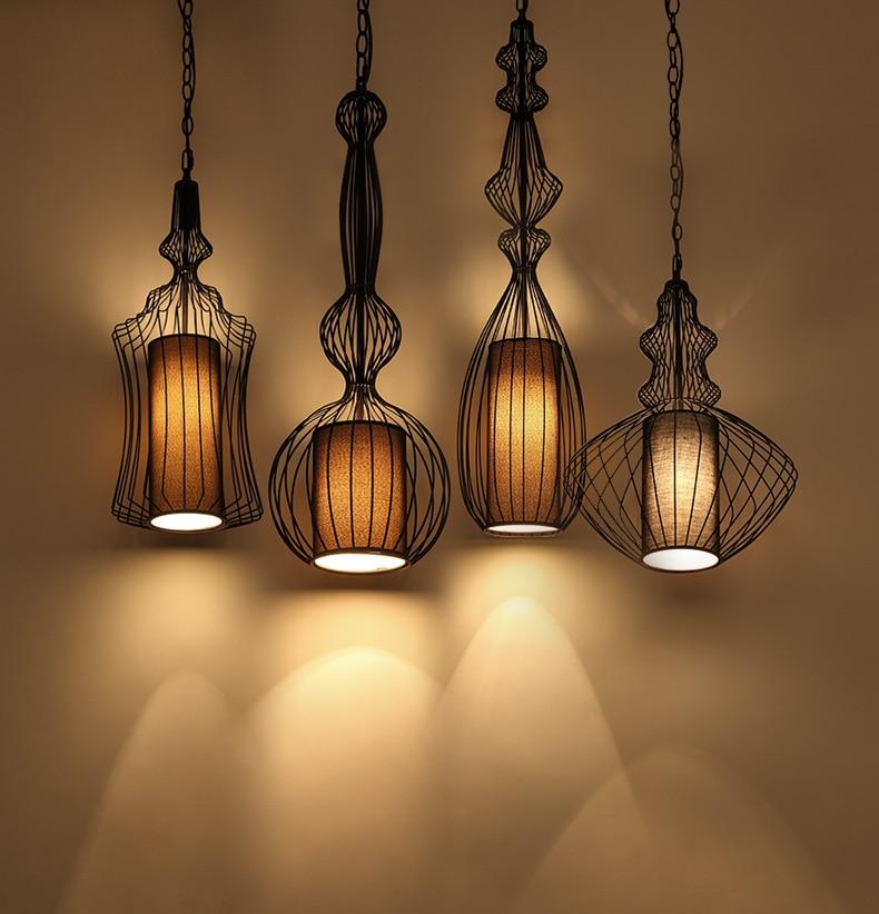 Bar Light Fixtures: Classical Iron Black Pendant Light Cage Lampshade Hanging