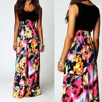 Women's Dress Women Print Boho Floral Long Maxi Dress Sleeveless Evening Party Summer Beach Sundress vestido navidad mujer W0619