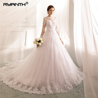 Ryanth Robe De Mariage Lace Long Sleeves Wedding Dresses 2018 White A Line Vestidos de Novia Vintage Wedding Gowns Brautkleid