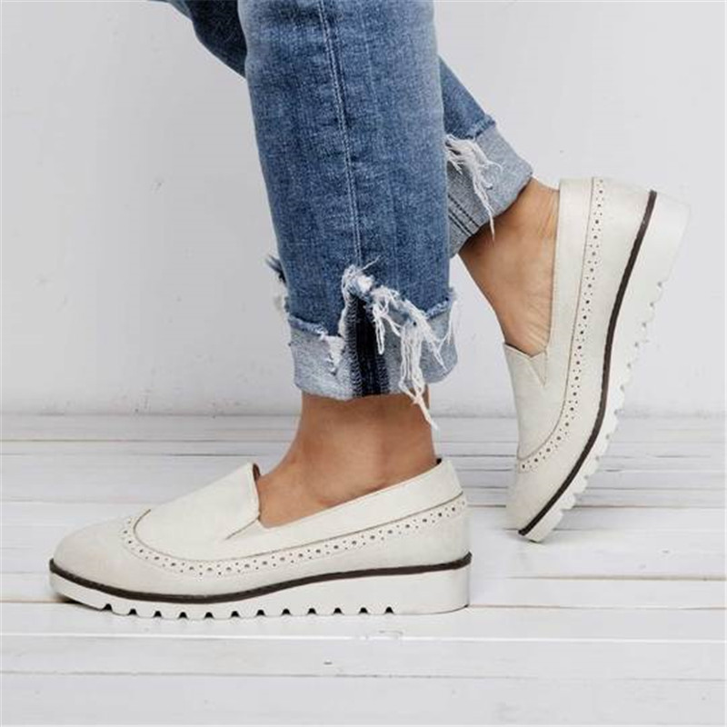 WENYUJH Women Slip-On   Suede   Daily Pointed Toe Loafers Casual Spring Flats Shoes Platform Sneakers   Leather     Suede   Ladies Loafers