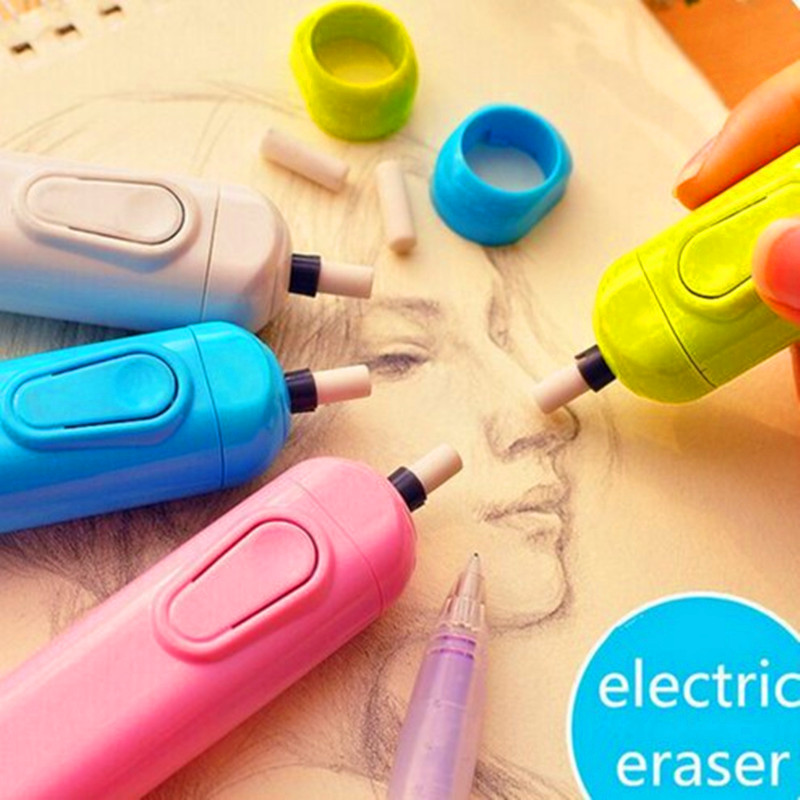 new Child electric eraser automatic battery operated rubber primary school students stationery as a gift for drawing
