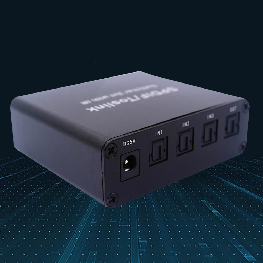 Full HD Digital Optical Audio Switch SPDIF/TOSLINK Optical Audio 3x1 Switcher Splitter Extender with IR Remote Controller