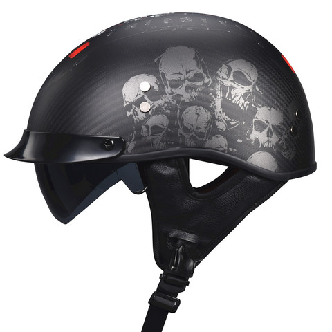 fibra de carbono vcoros retro metade do rosto do capacete com viseira de sol interior