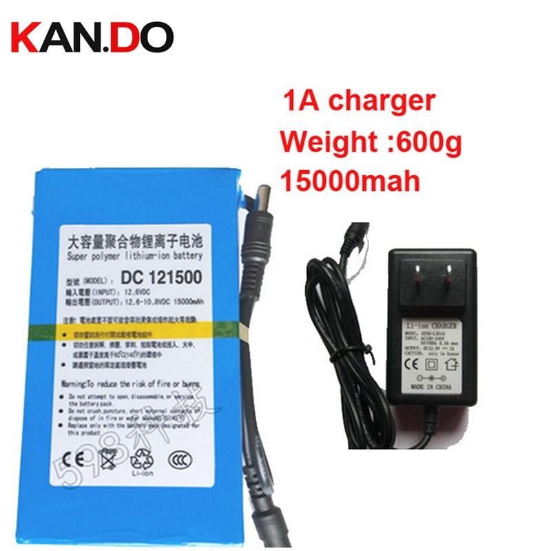 Réel 15000 Mah 5A courant de décharge, DC 12 V batterie au lithium polymère batterie batterie, li-ion polymère batterie 1A chargeur,