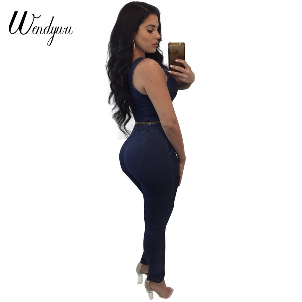 829ae7be7081 Wendywu Plus Size Women Jeans Jumpsuit Strap Sleeveless Pockets Denim  Rompers Bodycon Jumpsuit Sexy Overalls Club Wear Bodysuits-in Jumpsuits  from Women s ...