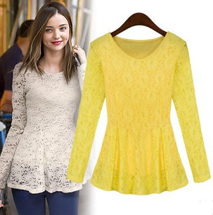 New Arrival Lace Bottoming Women Beige Yellow Shirt 2014 Autumn Long-Sleeve  Work Wear Embroidery Out Blouse Tops 1088 Hot Sale 57b146653a49