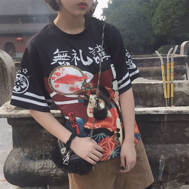 39d472bea55 Punk Cool Female Girls Japanese Street Style Exaggerated Printing Loose T- shirt Student Teenager Tops