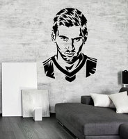 Handsome Football Player Messi Silhouette Wall Decal Home Decoration For Boys Room Vinyl Adhesive Soccer Face