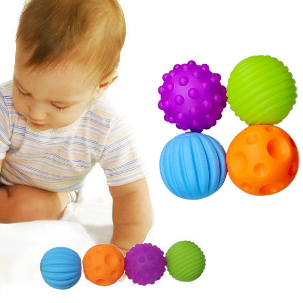 4pcs Textured Multi Ball Set Develop Babys Tactile Senses Toy Baby Touch Hand Ball Toys Baby Training Ball Massage Soft ball ...