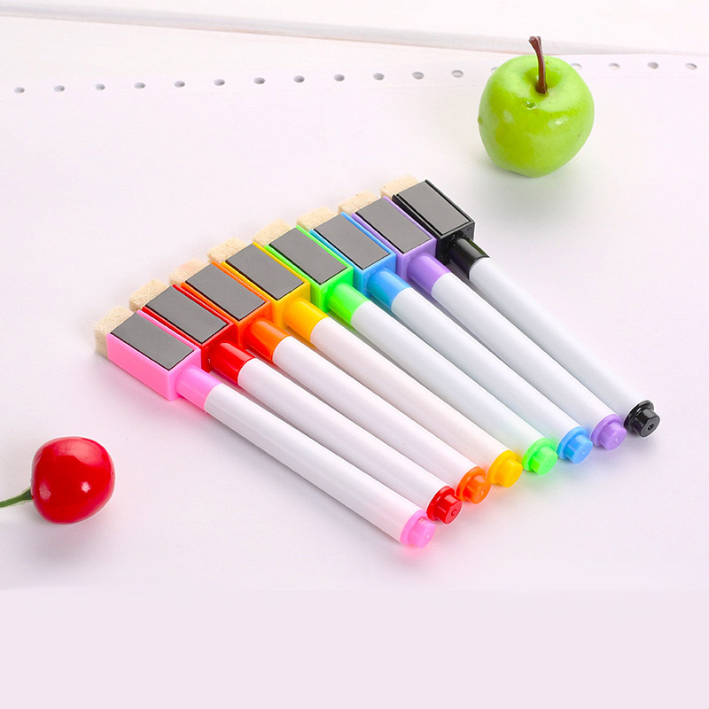 8Pcs/lot Magnetic Whiteboard Pen Erasable Dry White Board Markers Magnet Built In Eraser Office School Supplies magnetic white black board eraser blue