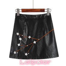 New Arrival  PU Leather Skirts High Waist Sexy Vintage A-Line Office Womens Mini 2018 autumn Skirt Plus Size