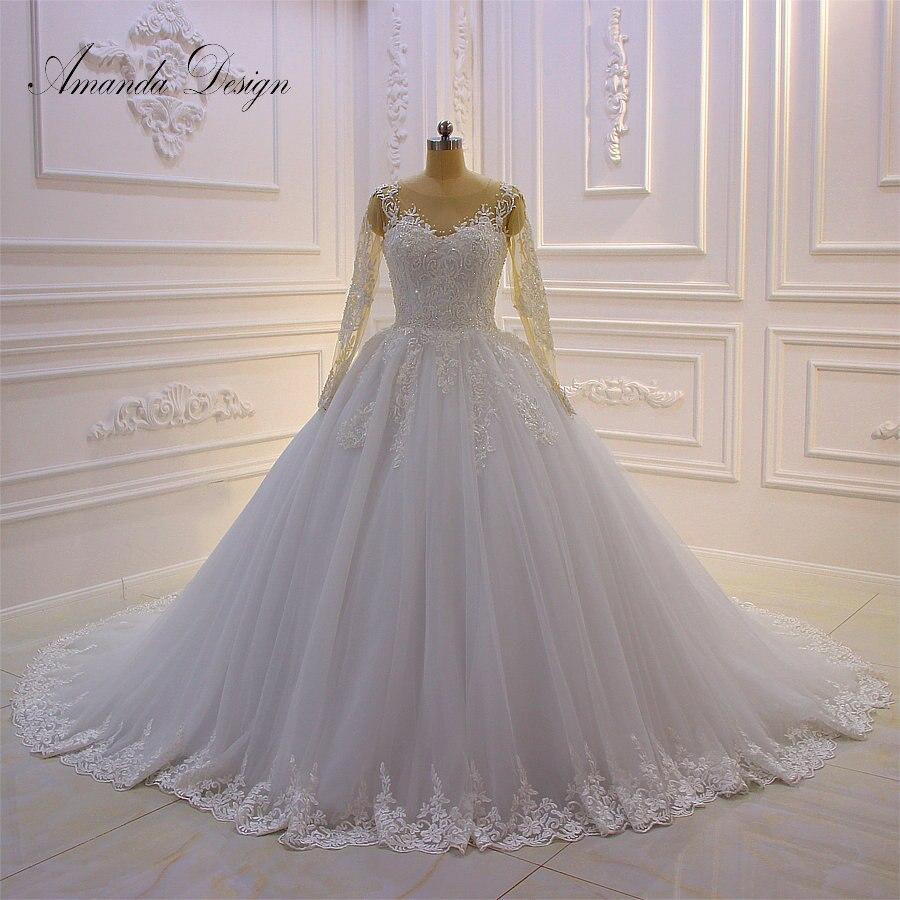 Amanda Design robe de mariee Long Sleeve Lace Appliques Beads Wedding Dress