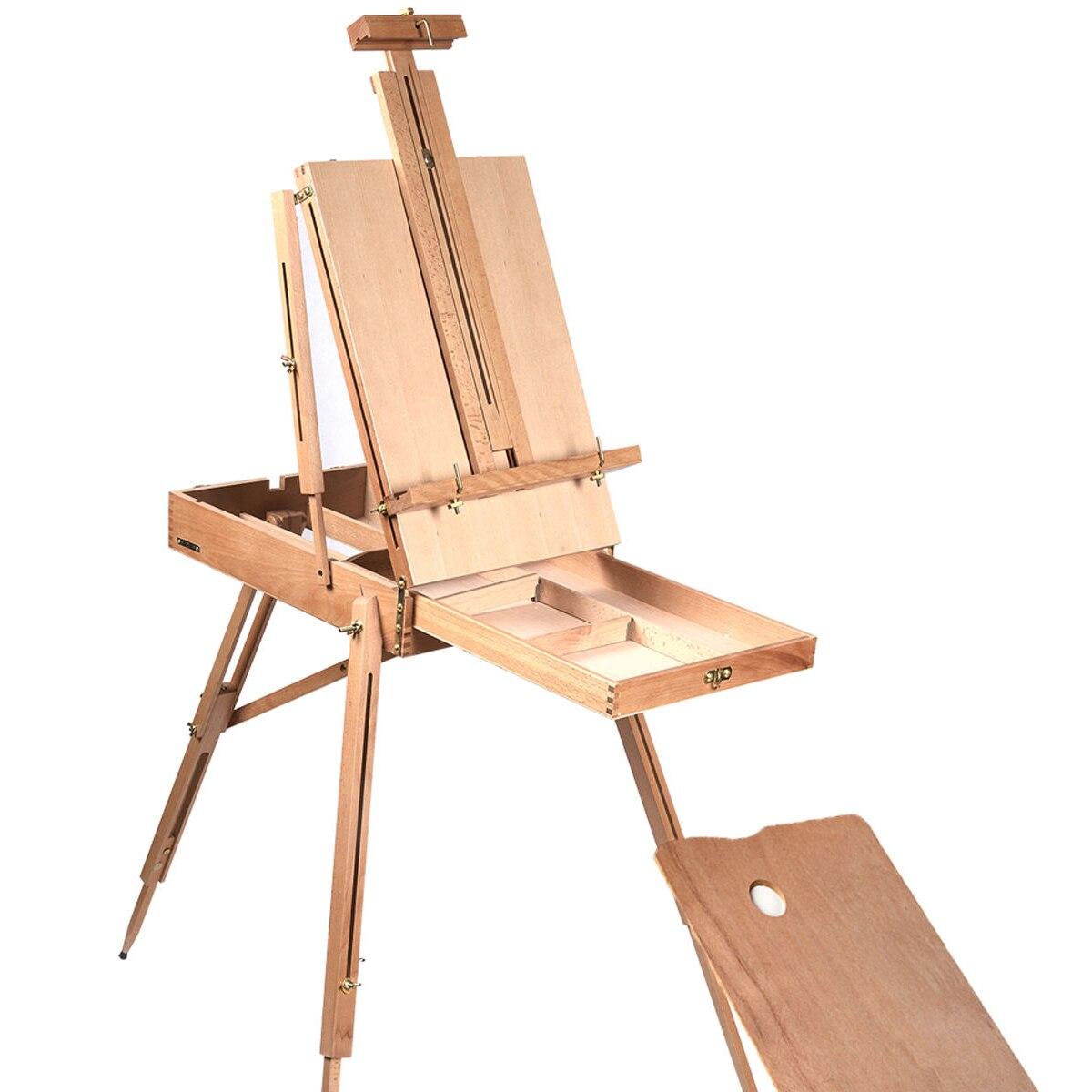 Portátil plegable Durable caballete de madera para la pintura de Color dibujo caja artista pintores trípode suministros de pintura caballetes