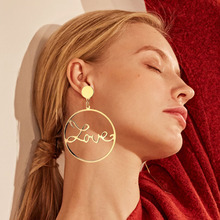 17IF Fashion Big Circle Hollow LOVE Earrings for Women Geometric Round Bohemian Dangle Earrings 2019 Trendy Statement Jewelry