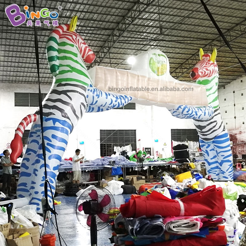 FACTORY OUTLET 8X6MH inflatable zebra arch toy / 2 zebras model racing line personalized arch decoration advertisingFACTORY OUTLET 8X6MH inflatable zebra arch toy / 2 zebras model racing line personalized arch decoration advertising