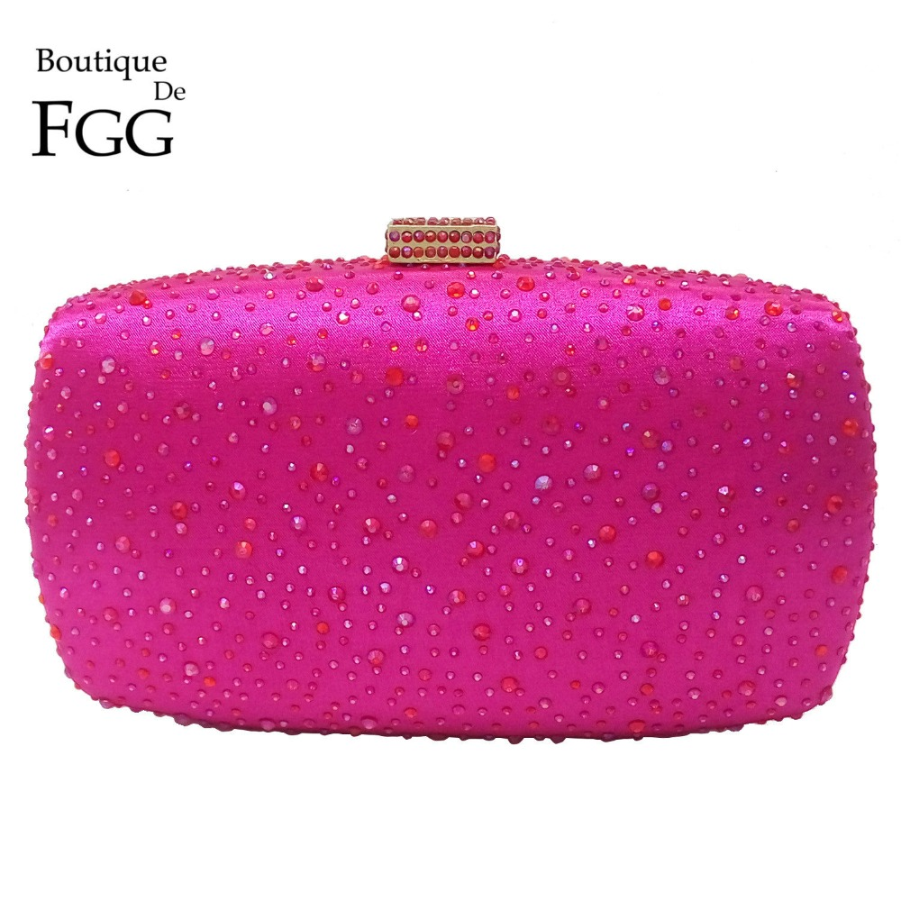 Boutique De FGG Hot Pink Fuchsia Crystal Diamond Women Evening Purse Minaudiere Clutch Bag Bridal Wedding Clutches Chain Handbag