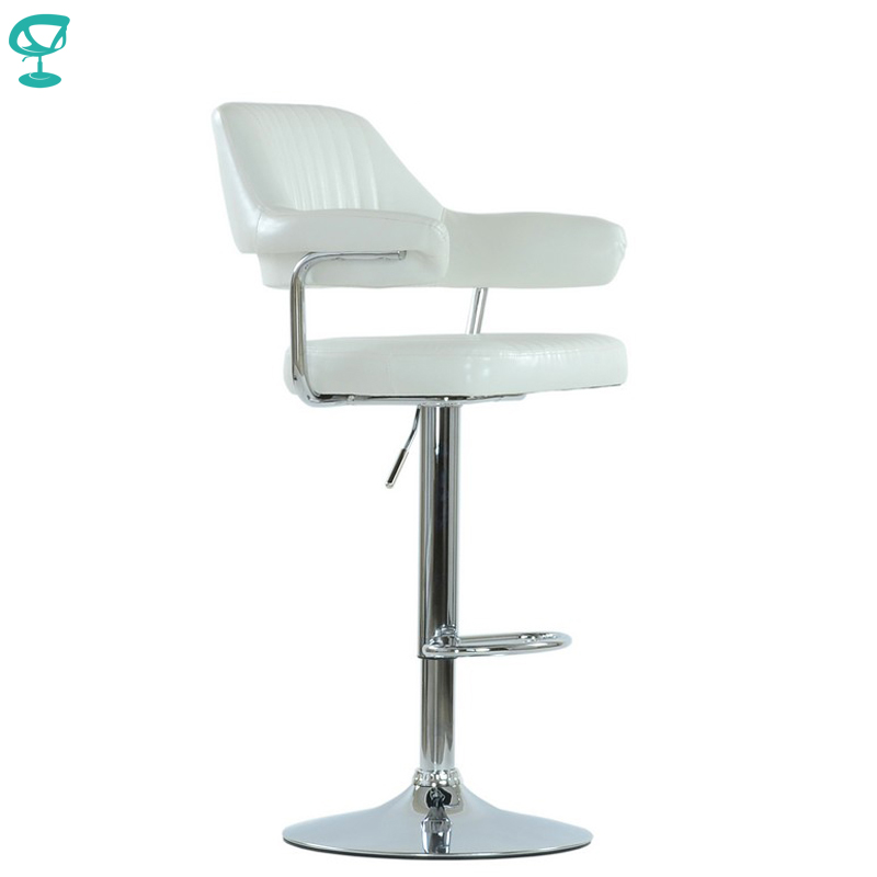 94534 Barneo N-152 Leather Kitchen Breakfast Bar Stool Swivel Bar Chair White Color Free Shipping In Russia