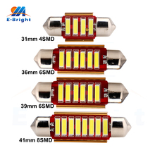 10pcs C5W Canbus 31mm 36mm 39mm 41mm 7014 4SMD 6SMD 8SMD LED Festoon Bulbs Error Free Car Door Reading Lights 12V Shipping