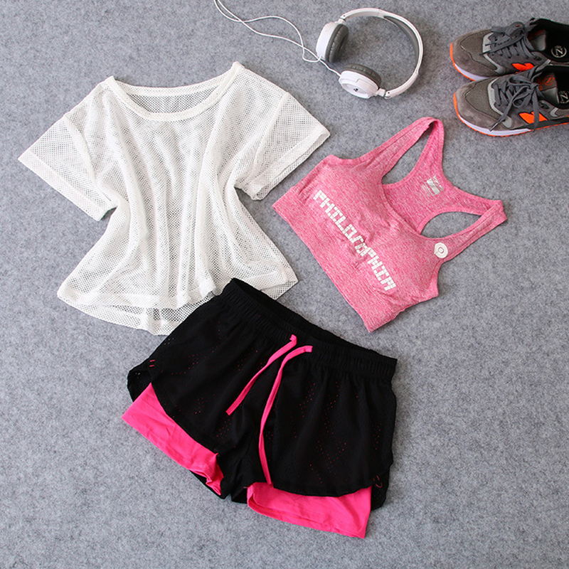 News 3 in 1 Running Yoga Suit Sport T-Shirt+Bra+Shorts Female Breathable Gym Jogging Sport Set Summer Quick Dry Girls Yoga Suits lk3197001 990 a3 print head for brother mfc6490 mfc6490cw mfc5890